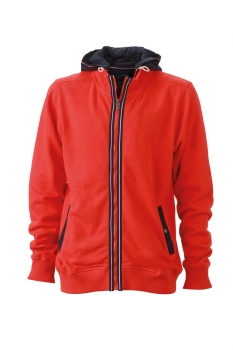 Herren Men´s Hooded Jacket, tomato-navy